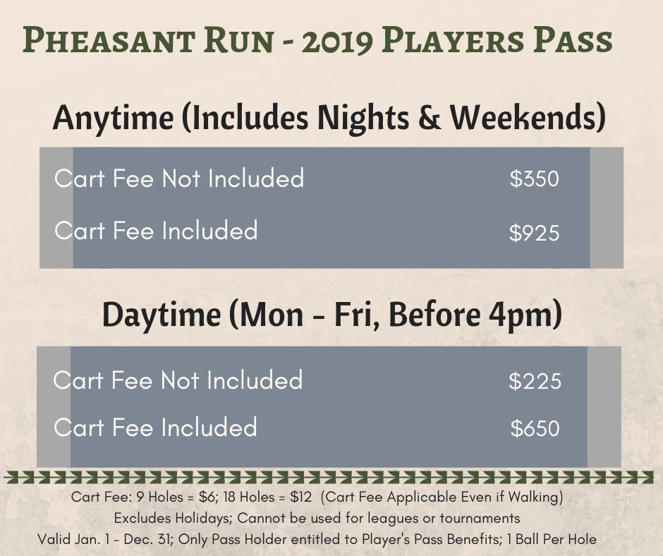 Pheasant Run - 2019 Players Pass